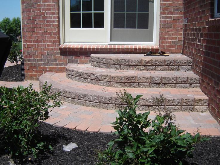 Backdoor brick paver steps.