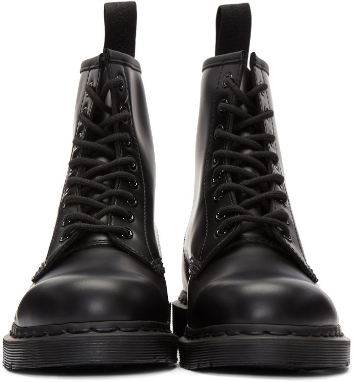 Ankle-high buffed leather boots in black. Round toe. Eight-eye lace-up closure. Textile pull-tab at heel collar. Air Cushion rubber sole. Tonal stitching.