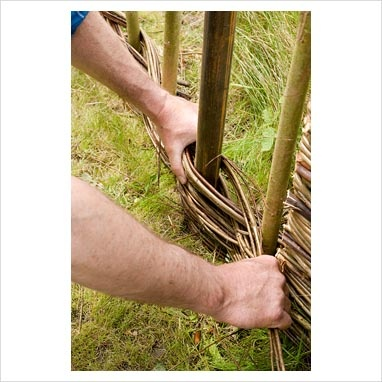 Weaving Salix triandra 'Noir de Villaines' willow around Salix viminalis uprights and mild steel supports to create fencing. Steel goes rusty and blends with willow over time.