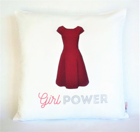 Girl Power Red Dress Pillow, Pillowcase, Sofa Pillow, Feminist Cushion, Feminist Decor, Pillow cover, Feminist gift