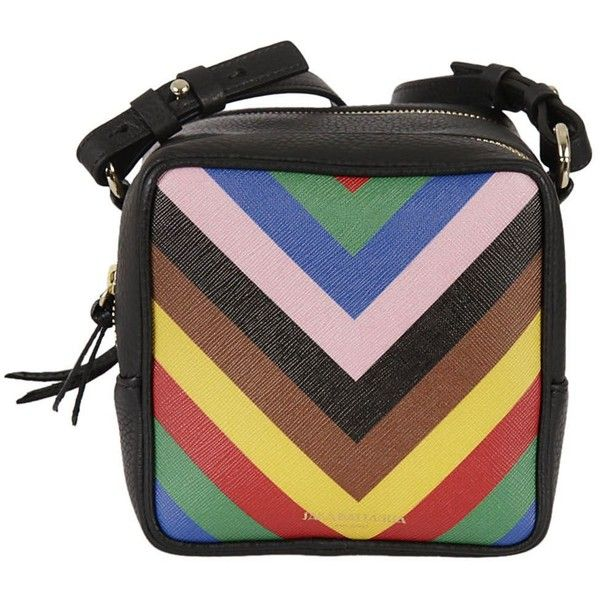 Striped Shoulder Bag (£460) ❤ liked on Polyvore featuring bags, handbags, shoulder bags, multicolor, shoulder hand bags, multi colored leather handbags, leather shoulder handbags, genuine leather shoulder bag and multi colored purses