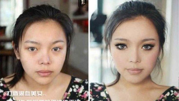 Maquillaje antes y después de mujer asiática