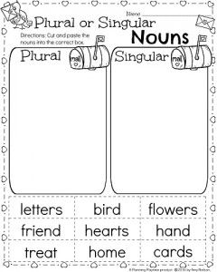 1st Grade Nouns worksheets for February - Plural and Singular Nouns activity.