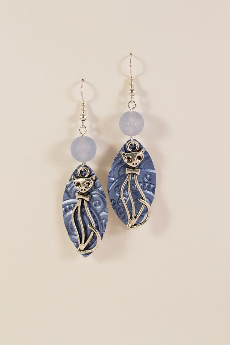 Boucles d'oreilles pendantes Nespresso légères en métal argenté et aluminium - Bleues - Chat : Boucles d'oreille par cap-and-pap