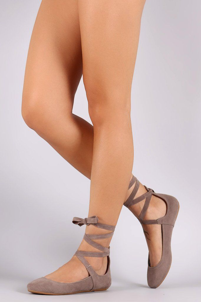 Bamboo Suede Round Toe Leg Wrap Ballet Flat - Gioellia Boutique - 2
