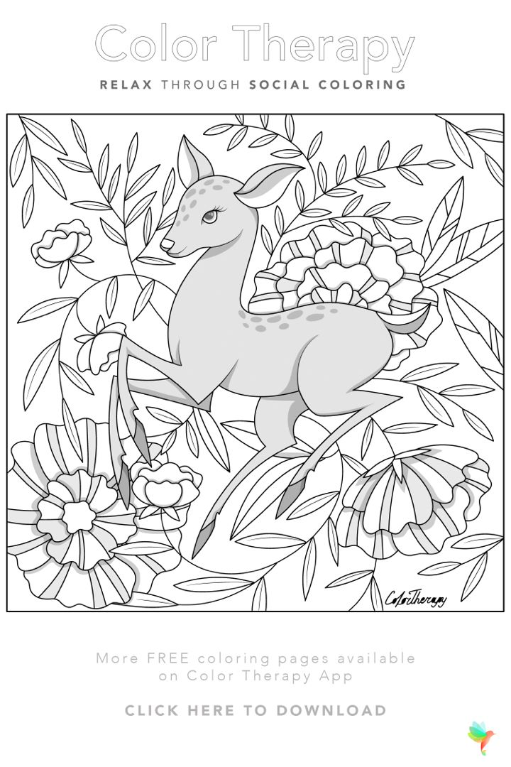 Color Therapy Gift Of The Day Free Coloring Template Deer Coloring Pages Bird Coloring Pages Pattern Coloring Pages