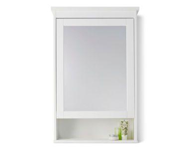 White IKEA HEMNES bathroom mirror cabinet with extra storage shelf