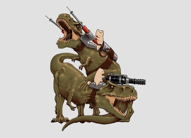Dinosaurs are cool. But cats riding dinosaurs with fricken' miniguns on their heads? It's a win! and a t-shirt!