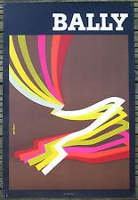 AFFICHE ORIGINALE CHAUSSURE HOMME BALLY AURIAC CIRCA 1970