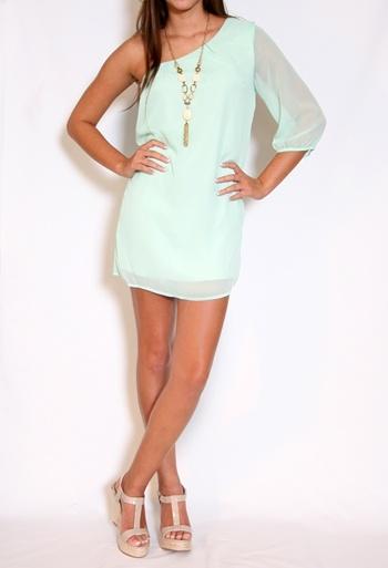 : Pastel, One Shoulder Dresses, Mint Green Dress, Perfect Dresses, Outfits 3, Mint Dresses, Mint Colors, Chiffon Dresses, Girls Night Out