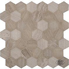 Carreaux de mosaïque de marbre naturel pour planchers et murs Honeycomb Hexagon de 12 po x 12 po x 10 mm montés sur filet (10 pi ca/bte)