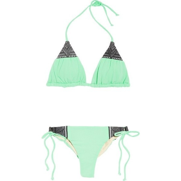 Mara Hoffman Embroidered Triangle Bikini ❤ liked on Polyvore
