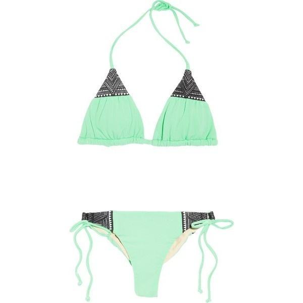 Mara Hoffman Embroidered Triangle Bikini ❤ liked on Polyvore