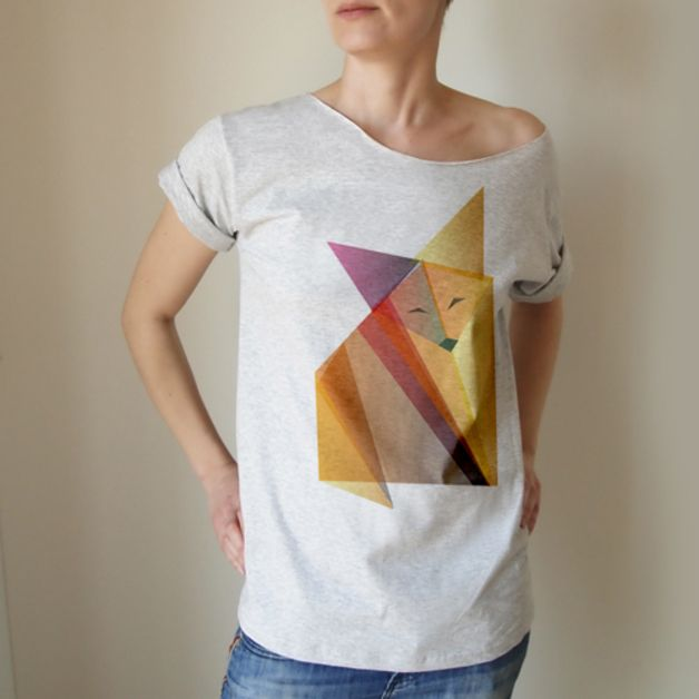 T-Shirts & Sweatshirts - T-SHIRT ORIGAMI FUCHS - ein Designerstück von onemugaday bei DaWanda