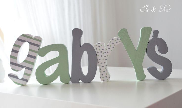 Wooden letters - wooden name Gabryś - drewniane litery - drewniane imie Gabryś