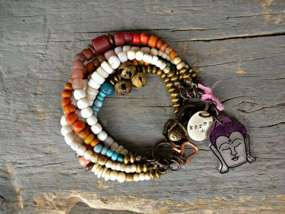 Multi strand yoga bracelet Layering bracelet by BeadStonenSkin