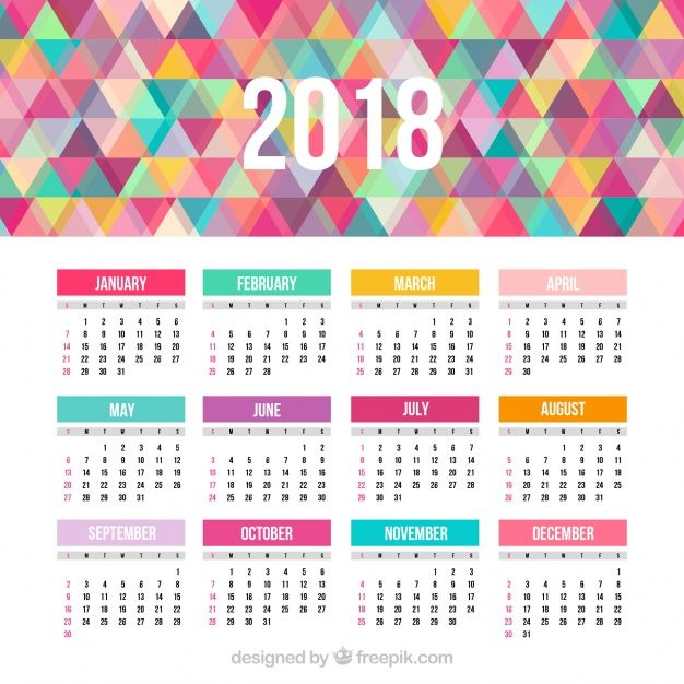 1 year calendar 2018