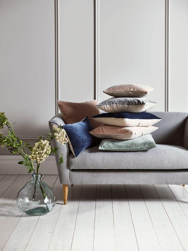 Velvet & Linen Cushions - Blush - For the bedroom