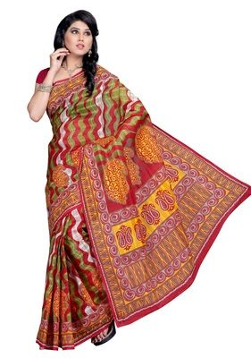 Hi Choice Multicolour Printed Cotton Saree With Blouse Cotton Sarees on Shimply.com