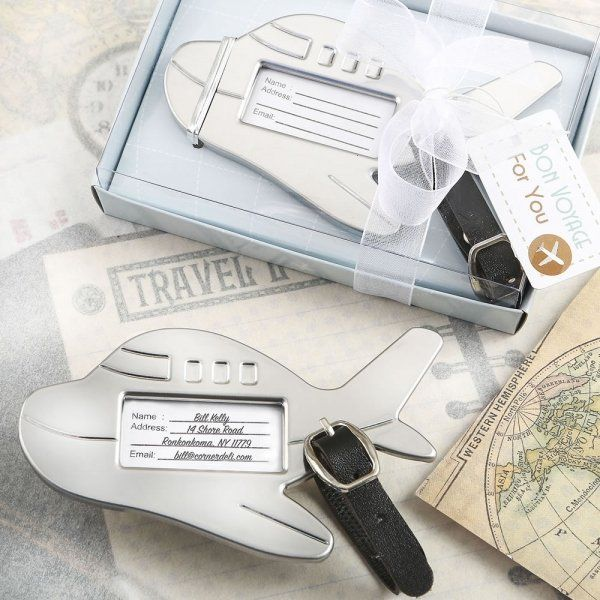 Adorable Silver Metal Airplane Luggage Tag Favors