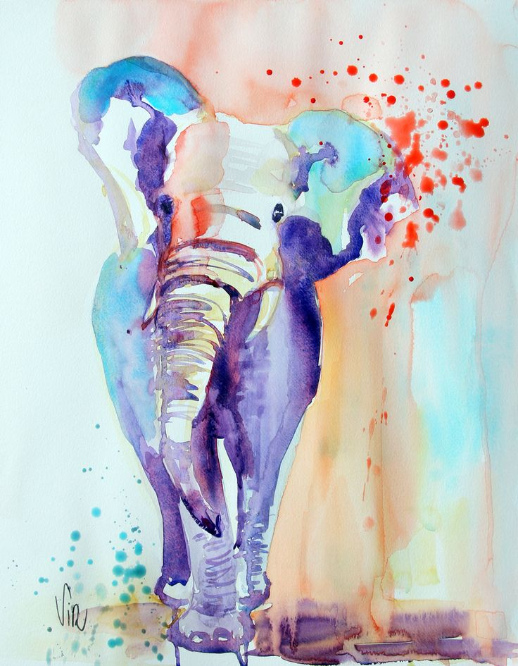 Aquarelle éléphant, aquarelle contemporaine,watercolor elephant sur papier 300g