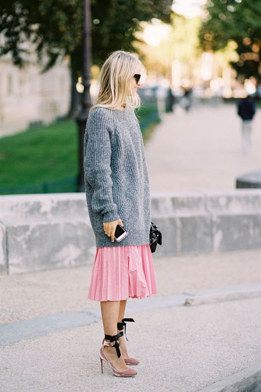 an oversized sweater and pink