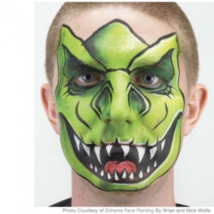 Step-by-step t-rex dinosaur face painting instructions from Extreme Face Painting