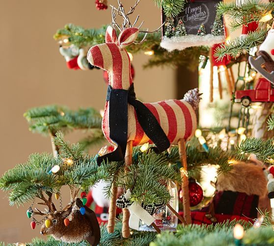 Fabric Reindeer Ornaments Pottery Barn Deck The Tree