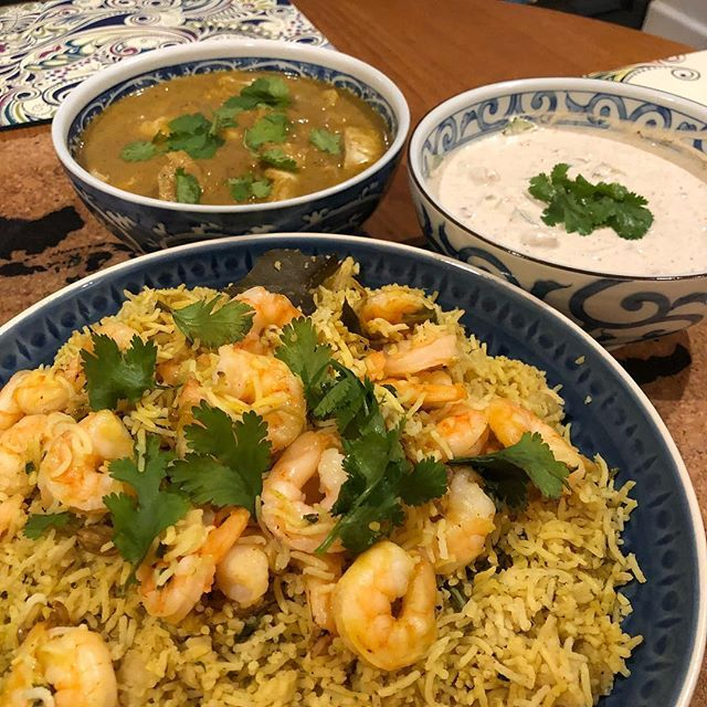 Cooking with Appa : 6-minute #instantpot Shrimp Biryani Coconut Fish curry with freshly ground spices and a raita. #HomeMade #MangiaBene #TalesFromNW #AppaSamayalAlsoNeedsAHashtag