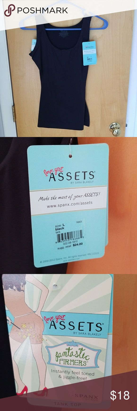 Assets by Sarah Blakely Tank Top Fantastic firming tank top. Size L. Never worn. New with tags. Instantly feel toned and jiggle free. Non compression bust fabric keeps your chest at best. Mesh tummy panel comfortably slims. Matte fabric Assets By Spanx Tops Tank Tops