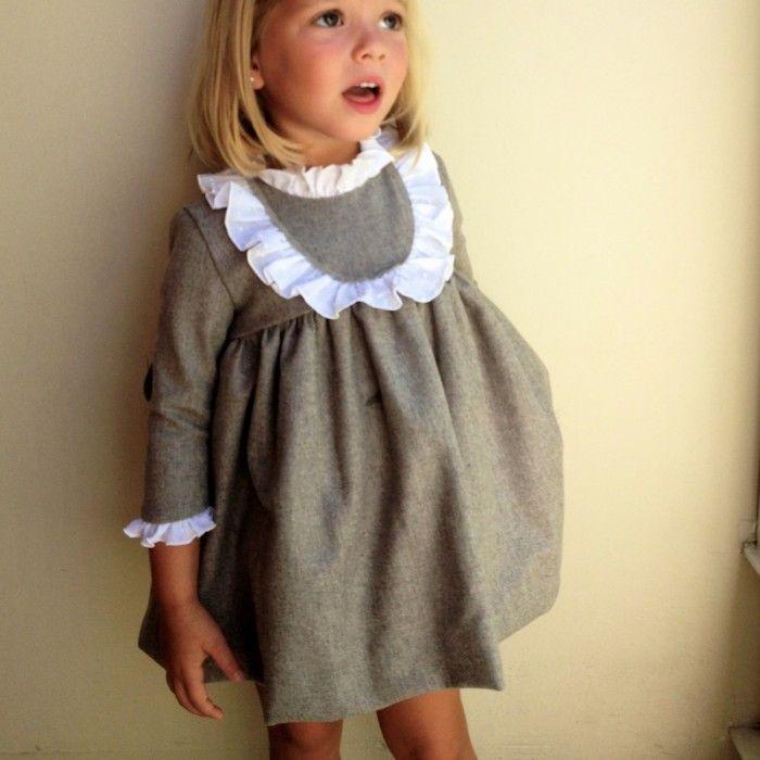 Vestido lana visón detalle plumeti