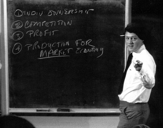 Le professeur Bill Clinton, Université de l'Arkansas, 1973