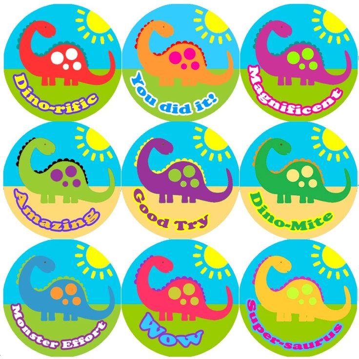 144 big colourful dinosaur 30mm round childrens reward stickers for teachers or parents