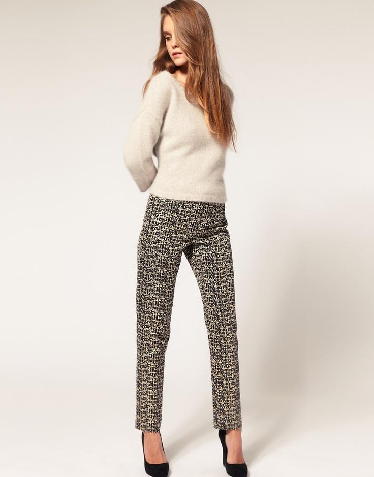 printed pants, sweater