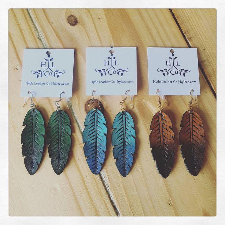 Ombre Feather Leather earrings. Leather earrings. Earrings. | Etsy