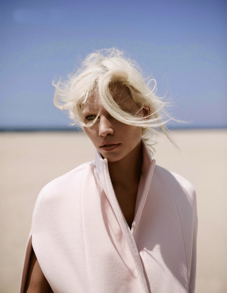 Vogue Netherlands July 2014 Fashion magazine Aline Weber Webber Annemarieke Van Drimmelen Photographer beach editorial coat pink camel overa...
