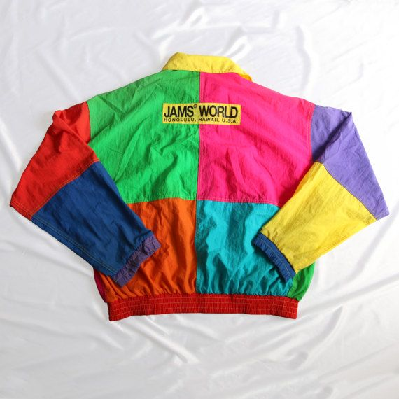 https://www.etsy.com/listing/512583339/vintage-90s-jams-world-honolulu-hawaii  #Vintage #90s #JamsWorld #Honolulu #Hawaii #USA #Surf #SurfLine #Multicolor #Zipper #Windbreaker #Jacket #Colorblock #HipHop #Rap #Rare #Colorful #Reggae