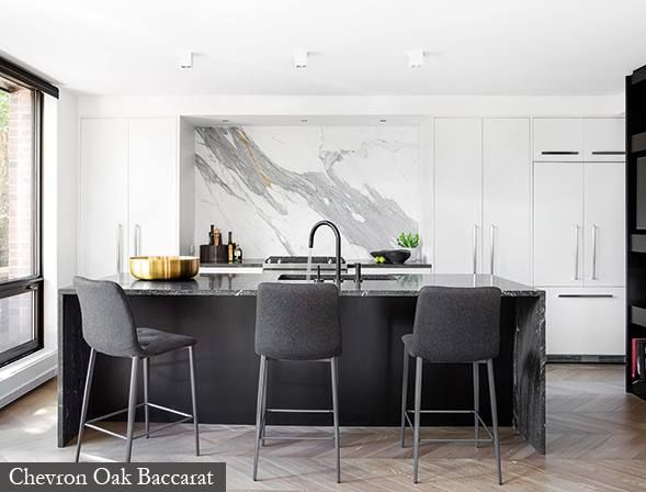 For a luxe but earthy look, Montreal Designer Scott Yetman opted for the STP Oak Baccarat flooring.