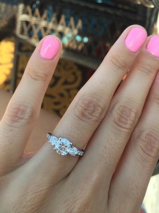 three diamond engagement ring - Deer Pearl Flowers / http://www.deerpearlflowers.com/wedding-rings-jewelry/three-diamond-engagement-ring/