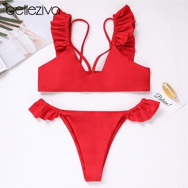 589fdc521186 Belleziva Women Solid Color Bikini Set Ruffle Swimsuit Brazilian ...