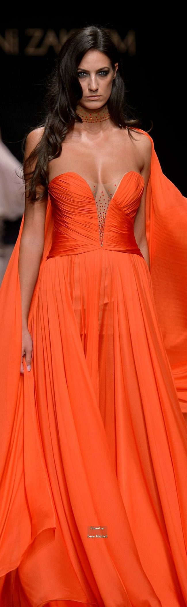 Rani Zakhem ~ Couture Brilliant Orange Strapless Ball Gown Fall 2015-16 |  @ orange like orange