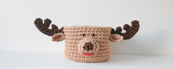 Round basket  Moose  Crocheted Moose  Toy box Children basket