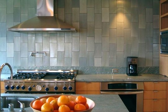 Love the color. Love the vertical subway tile.