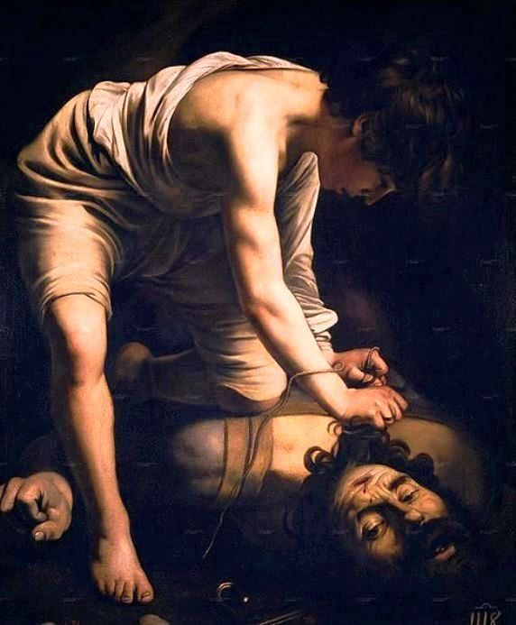 Caravaggio - David Victorious over Goliath, circa 1600. Caravaggio portrays David, not as a hero but rather as a young man with a serene aspect who has vanquished Evil thanks to his cleverness and Divine Aid. Only his clenched left fist betrays the tension of the moment. Museo Nacional del Prado, Madrid.