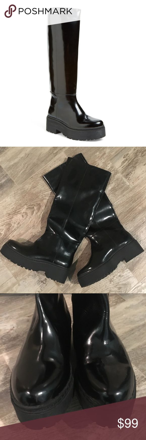 Jeffrey Campbell boots New!  Never worn! Patent leather delfonic boots.  Lightweight and very comfortable!  True to size 8.5!  Listed under winter boots... not necessarily rain boots tho! Jeffrey Campbell Shoes Winter & Rain Boots