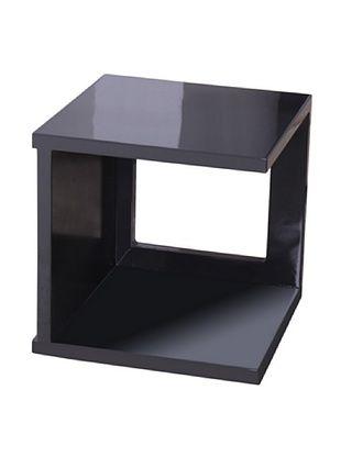 Fox Hill Trading Co. High Gloss Coffee Table Cube Shape, Dark Gray