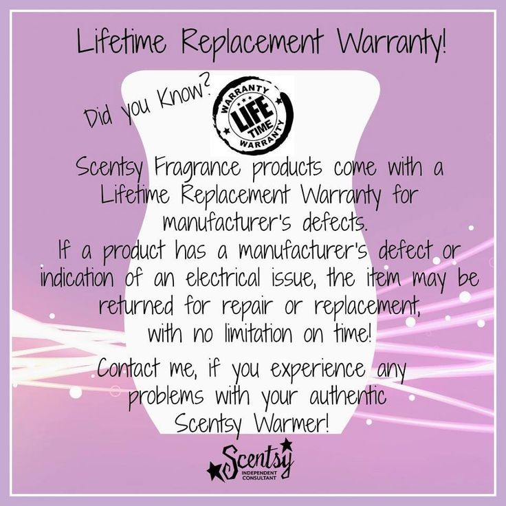 Lifetime Replacement Warranty! Did you know? Scentsy Fragrance products come with a Lifetime Replacement Warranty for manufacturer's defects. If a product has a manufacturer's defect or indication of an electrical issue, the item may be returned for repair or replacement with no limitation time! Contact me, if you experience any problems with your authentic Scentsy Warmer! #lifetimereplacementwarranty #scentswithlindsy