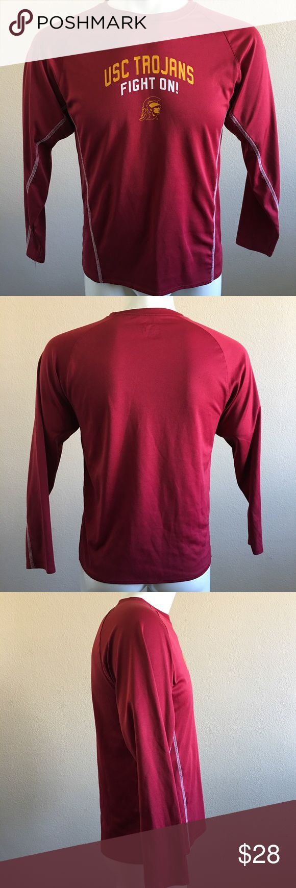 USC Trojan Pro Edge Fight On Athletic Shirt USC College Trojan Fight On! Long Sleeve Shirt  Color: Burgundy  Size:16/18  Material: 100% polyester   -N- Knights Apparel  Shirts Tees - Long Sleeve
