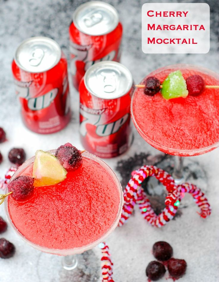 Cherry Margarita Mocktail featuring Cherry 7UP® is my signature holiday drink. It's festive, delicious and my favorite holiday color. #BrighTENtheseason #ad