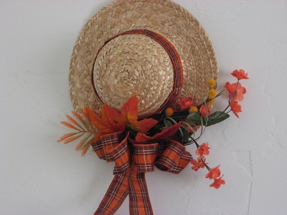 Autumn Straw Hat Wreath by SweetBunnyBoutique on Etsy, $6.00